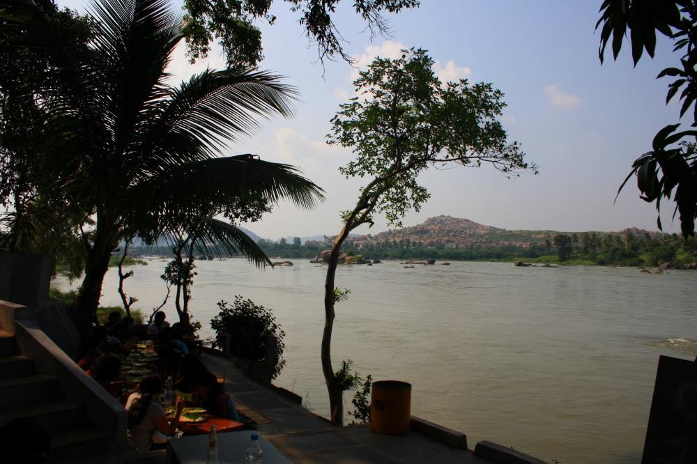 Mango Tree restaurant on the bank of Tungabhadra river