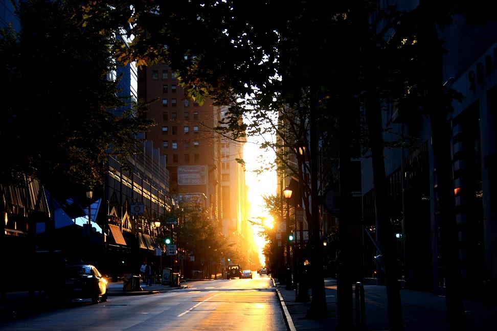 Sunlight burst on a chilly morning in Philadelphia